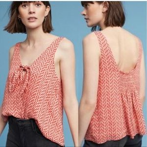 Maeve by Anthropologie Verena Tie Front Blouse SM